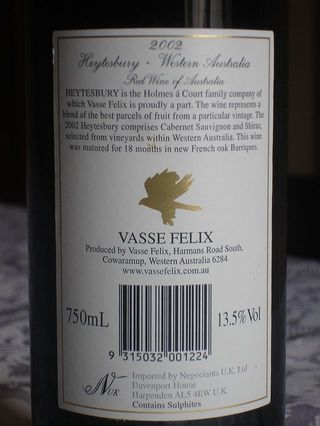 Vasse Felix Heytesbury 2002