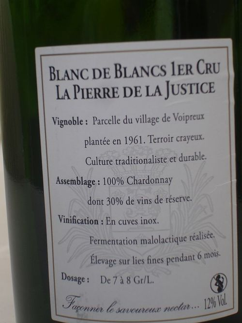 Pierre de la Justice back label